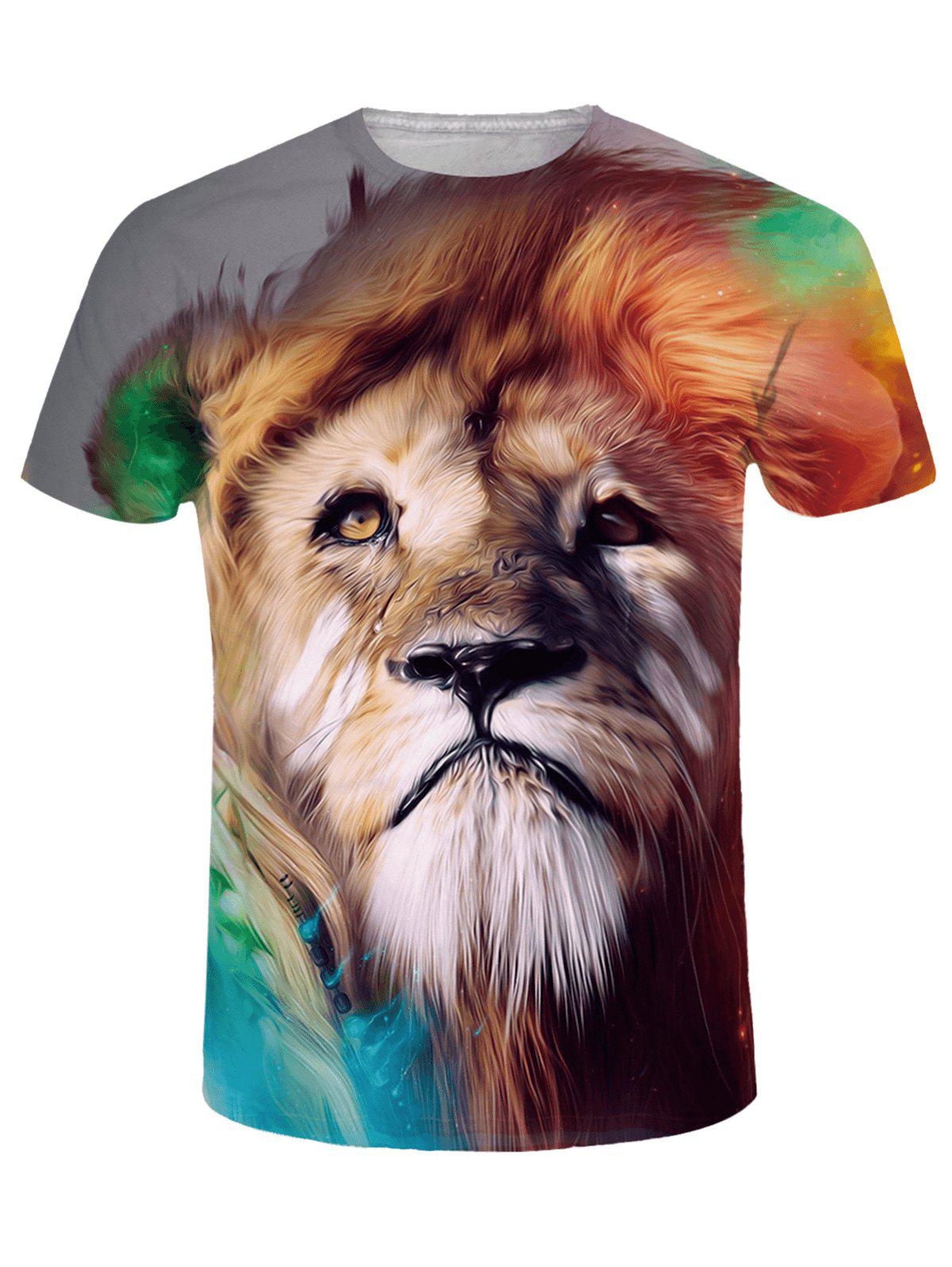 Store Crew Neck 3D Tearful Lion Print Tee