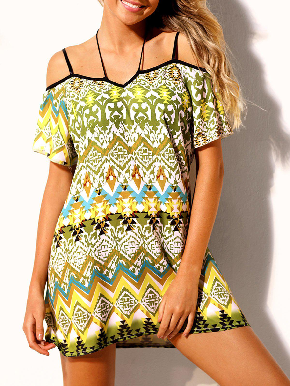 Latest Ethnic Print Open Shoulder Beach Dress