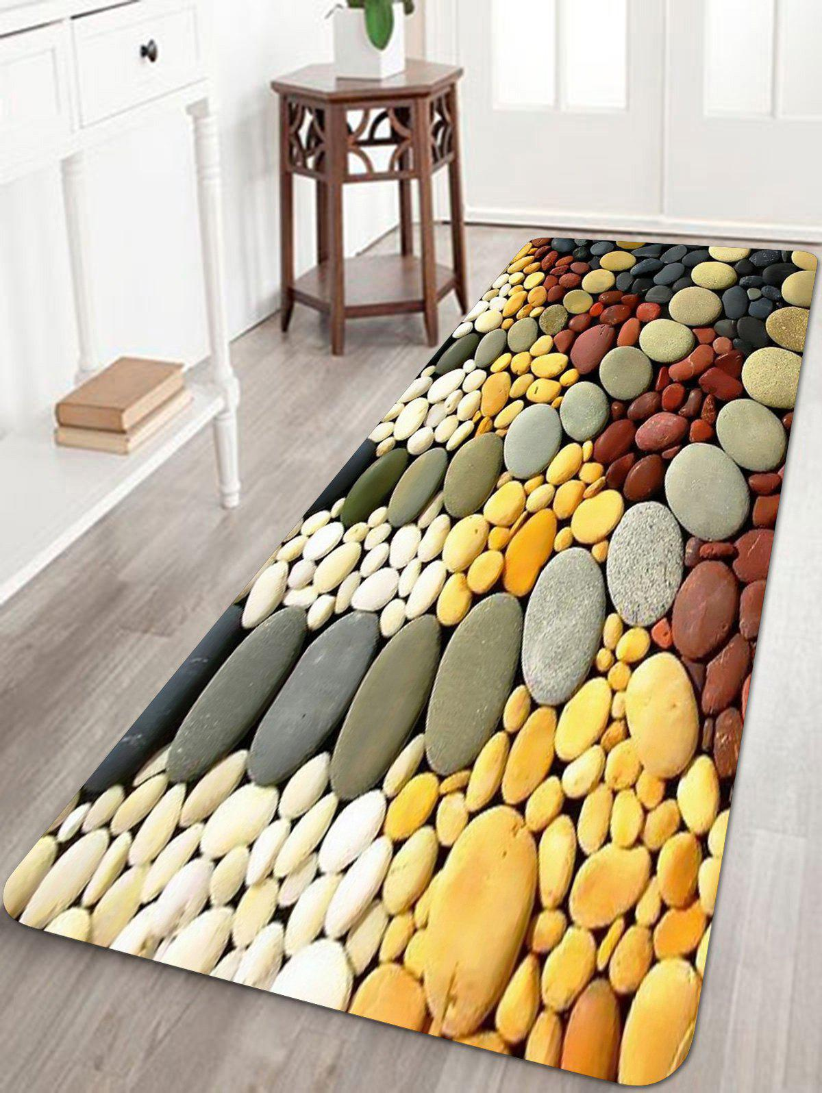 Chic Colorful Cobblestones Pavement Pattern Floor Rug