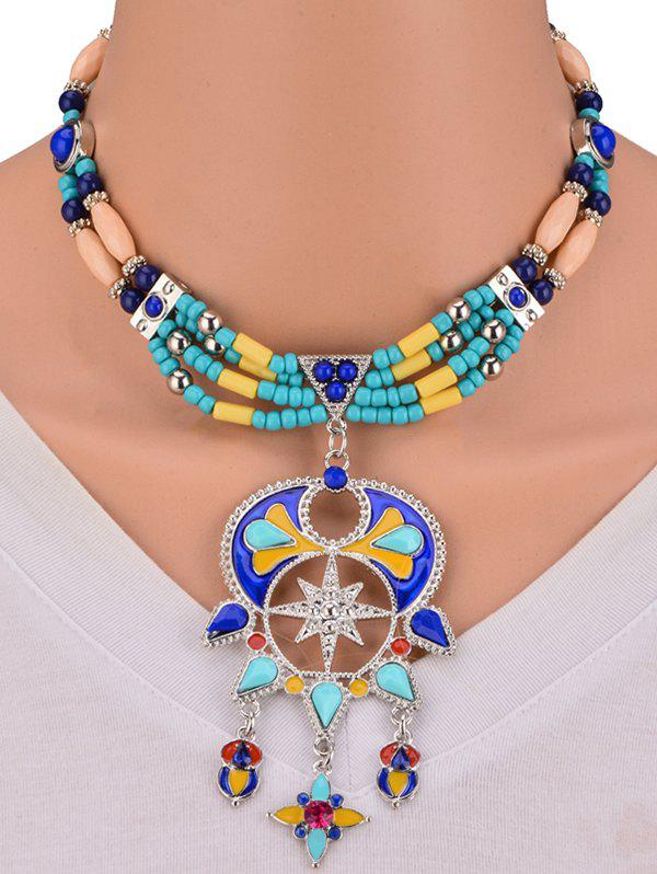 Unique Bohemian Artificial Turquoise Alloy Beaded Necklace