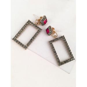 Урожайность Rhinestoned Geometric Front Back Earrings -