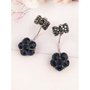 Rhinestoned Bowknot Floral Ear Jackets -