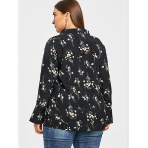 V Neck Plus Size Floral Print Blouse -