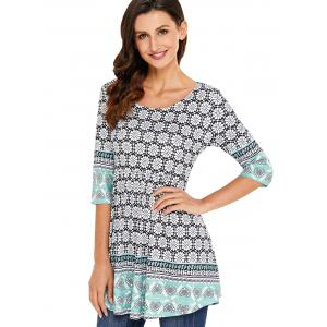 Imprimer Tunique Scoop Neck Blouse -