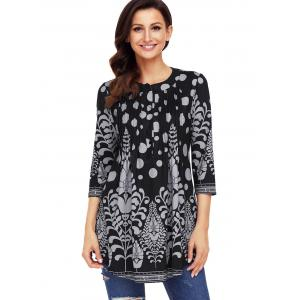 Print Pintuck Tunic Blouse -