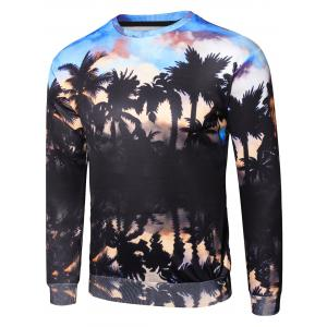3D Sunset Coconut Palm Shadow Print Pullover Sweatshirt -