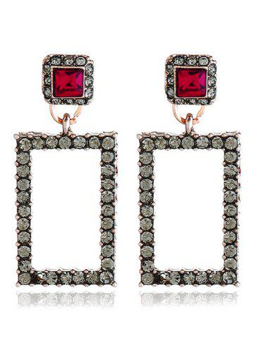 Урожайность Rhinestoned Geometric Front Back Earrings