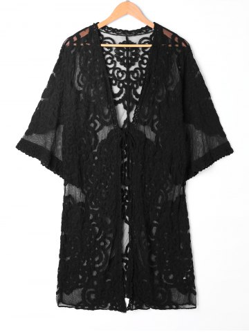 Affordable See Thru Lace Embroidered Kimono Cover Up