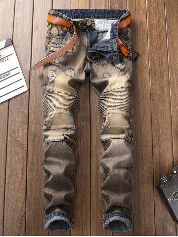 Outfits Accordion Pleat Straight Leg Vintage Ripped Jeans