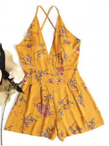 RoseGal Cami Floral Backless Playsuit – Bee Yellow
