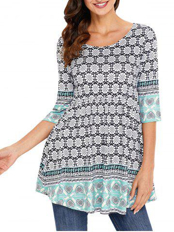 Imprimer Tunique Scoop Neck Blouse