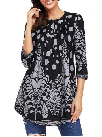 Discount Print Pintuck Tunic Blouse