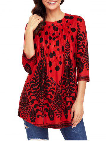 Shop Print Pintuck Tunic Blouse