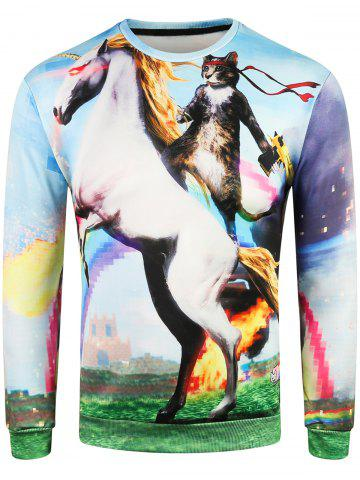 Cheap 3D Cat on Horse Print Pullover Sweatshirt
