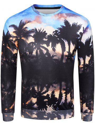 Shop 3D Sunset Coconut Palm Shadow Print Pullover Sweatshirt
