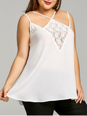 Affordable Plus Size Lace Panel Strappy Tank Top