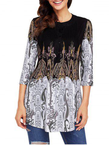 Shops Print Pintuck Tunic Blouse
