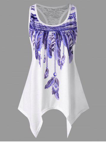 Fashion Handkerchief Feather Print Racerback Tank Top