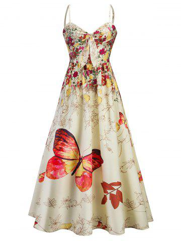 Online Cami Bowknot Floral Party Maxi Dress