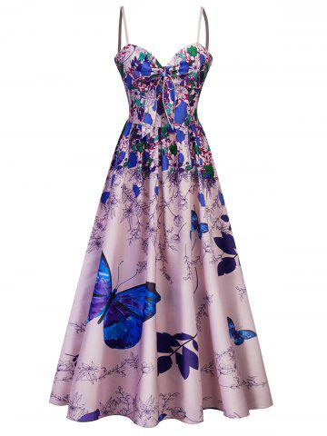 Outfit Cami Bowknot Floral Party Maxi Dress