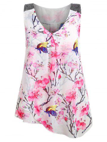 Plus Size Floral Overlay Tank Top