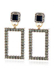 Vintage Rhinestoned Geometric Front Back Earrings -