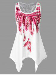 Handkerchief Feather Print Racerback Tank Top - Rose Madder - L