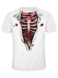 Crew Neck Bloody Skeleton 3D Print Tee -