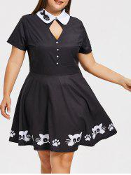 Plus Size Cat Print Keyhole Skater Dress -
