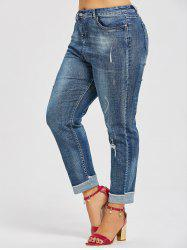 Back Pockets Plus Size Ripped Boyfriend Jeans -