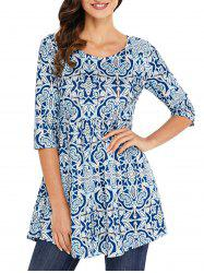 Print Scoop Neck Tunic Blouse -