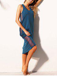 Mesh Panel Cross Back Tank Dress -