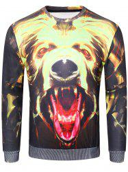 Sweat-Shirt à Imprimé Chien Féroce 3D -