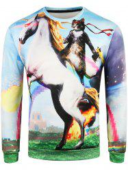 3D Cat on Horse Print Pullover Sweatshirt -