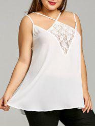Plus Size Lace Panel Strappy Tank Top -