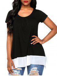 Chiffon Panel Scoop Neck T-shirt -