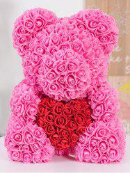 Love Heart Shaped Artificial Rose Flowers Bear for Gift -