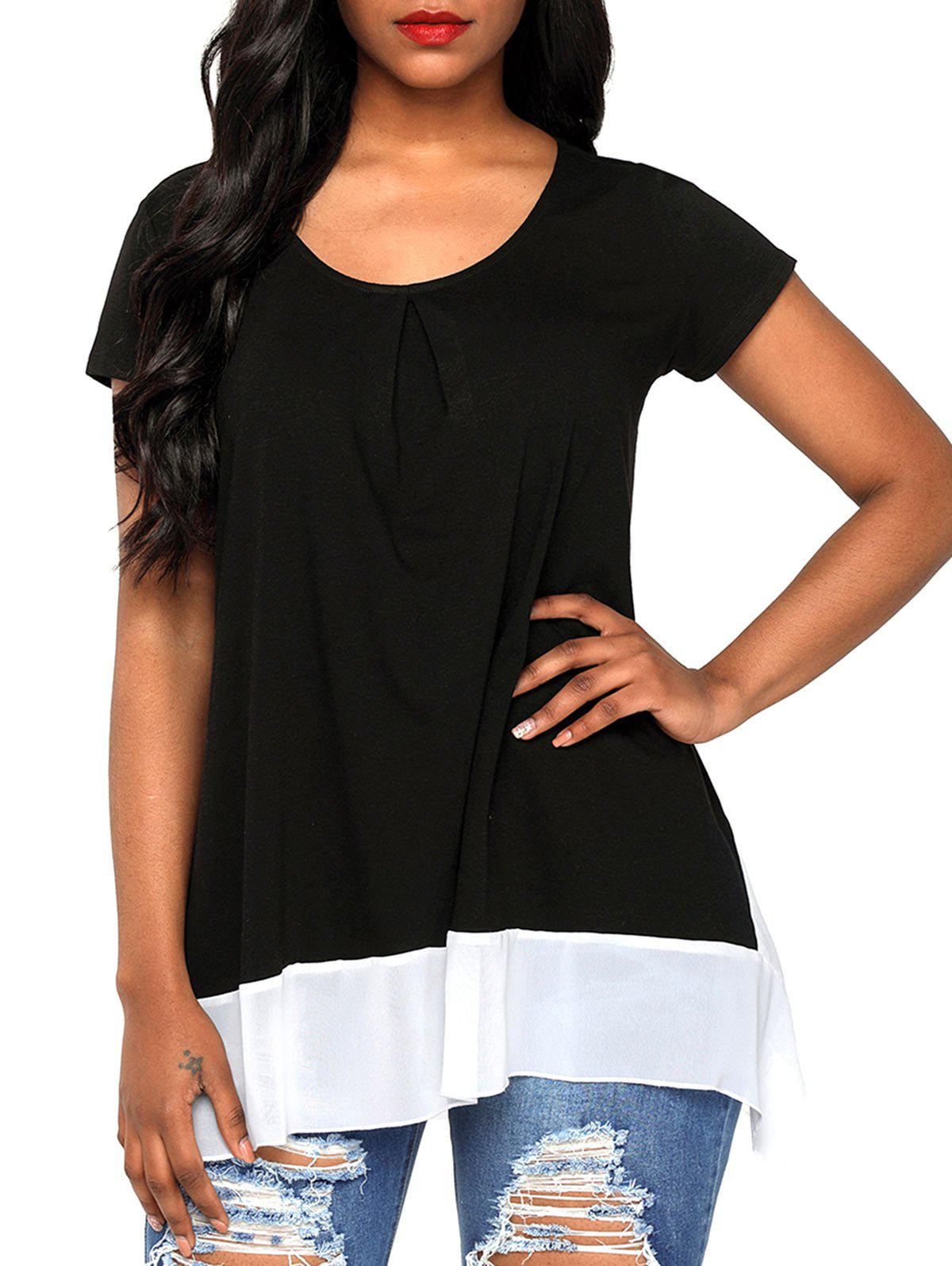 Fancy Chiffon Panel Scoop Neck T-shirt