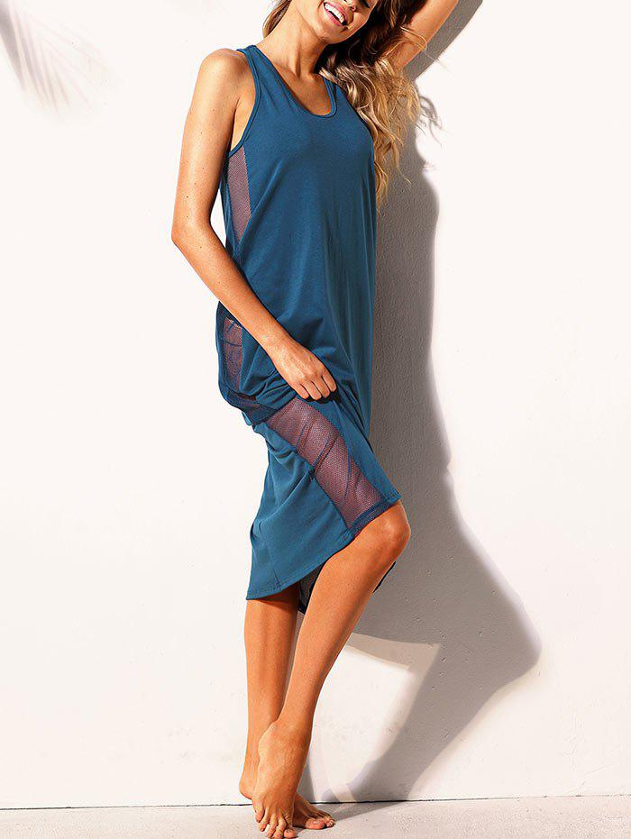 Discount Mesh Panel Cross Back Tank Dress