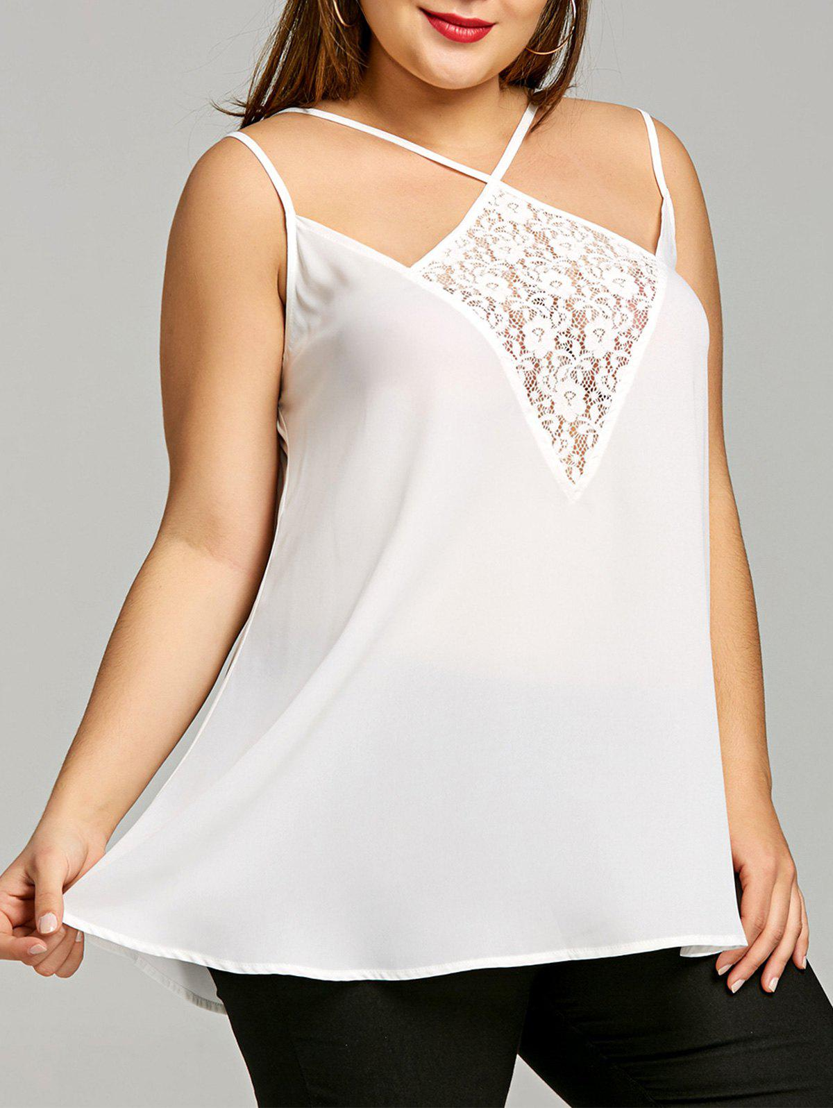 Chic Plus Size Lace Panel Strappy Tank Top