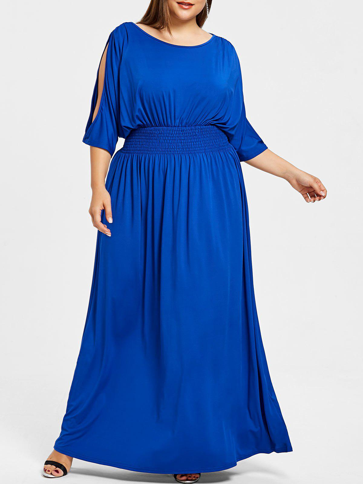 Hot Slit Sleeve Plus Size Longline Dress