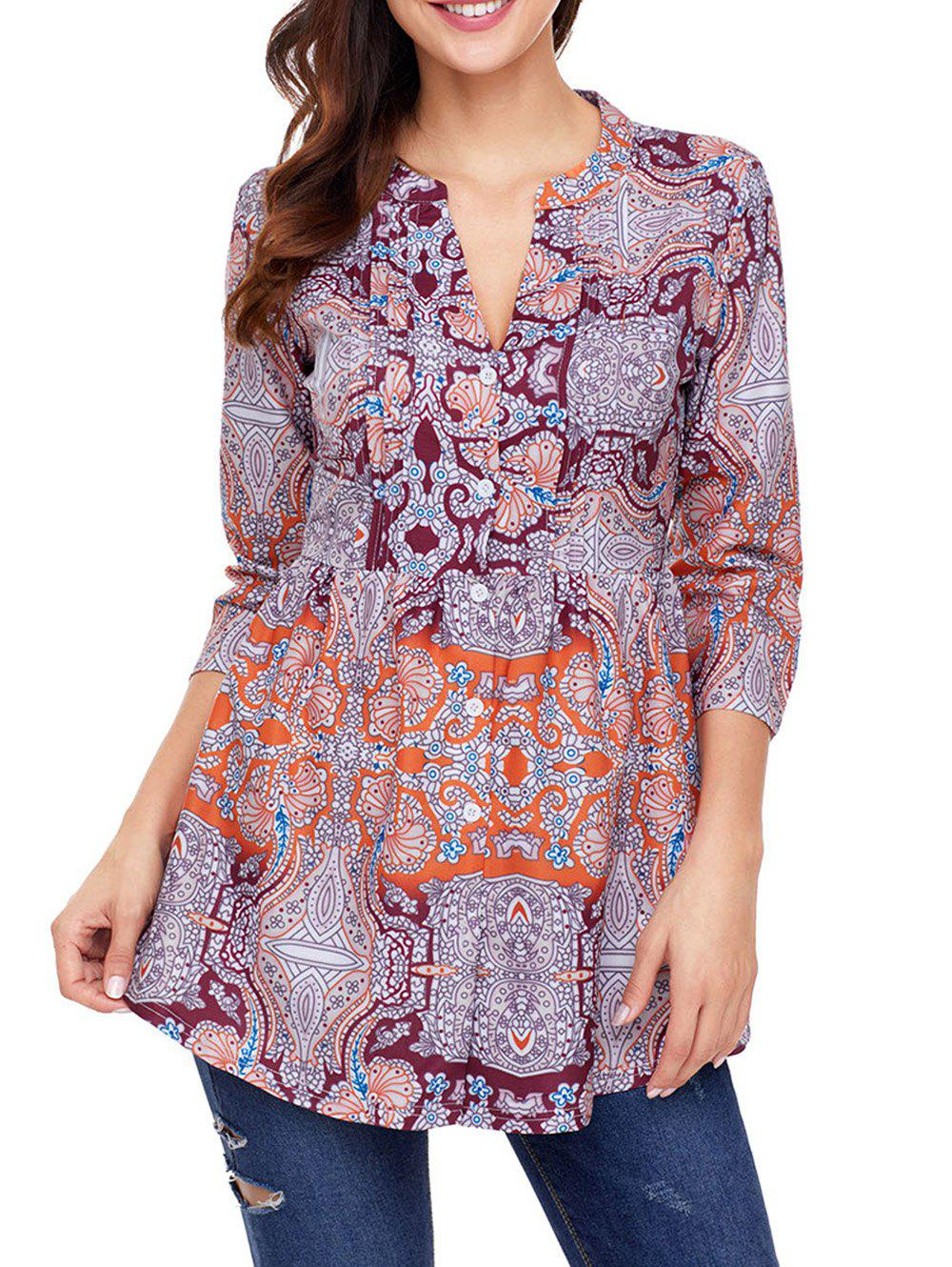 Blouse à Imprimé Ethnique à Col Fendu Orange S