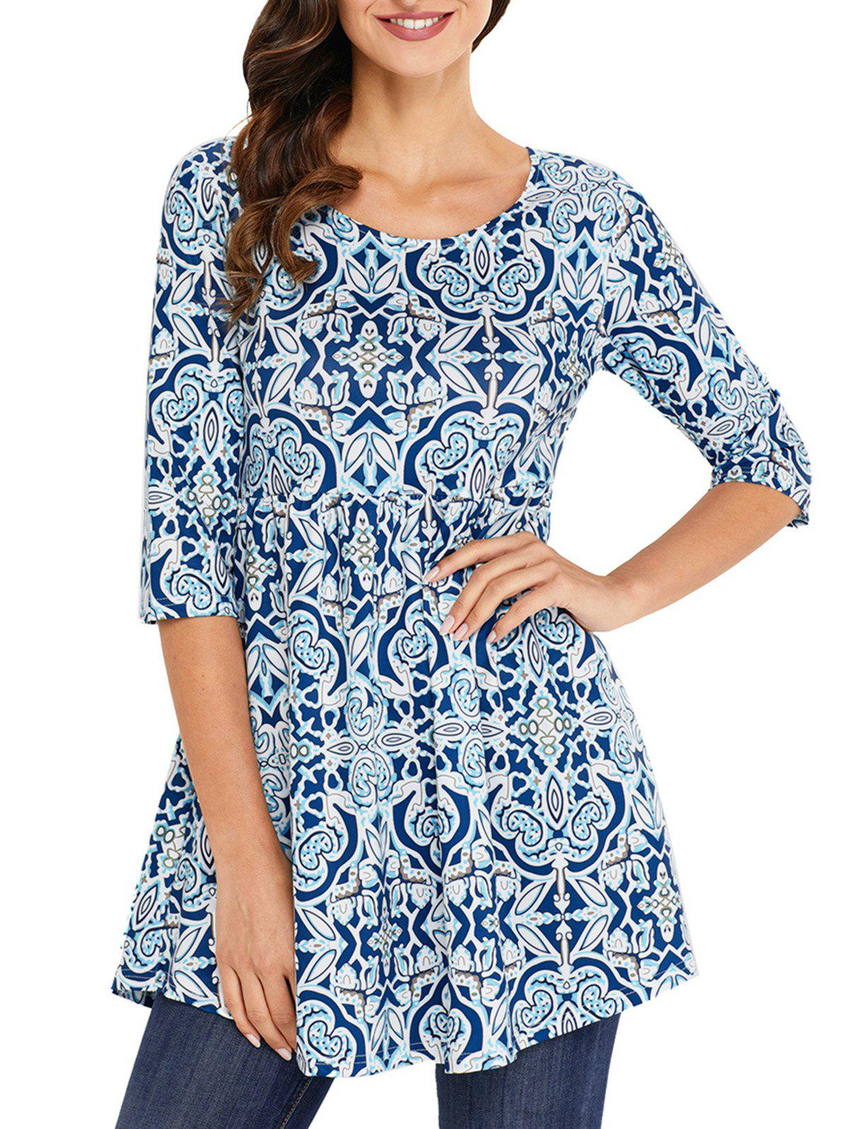 Outfits Print Scoop Neck Tunic Blouse