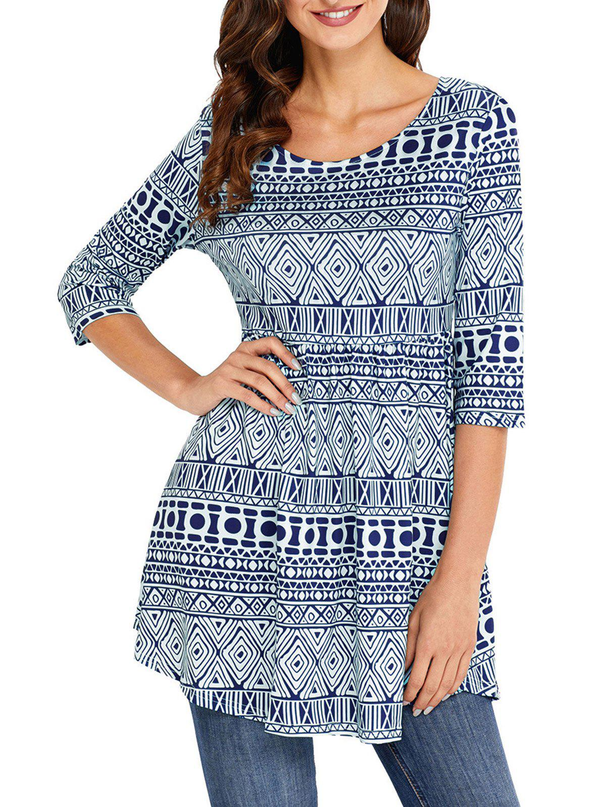 Shops Print Scoop Neck Tunic Blouse