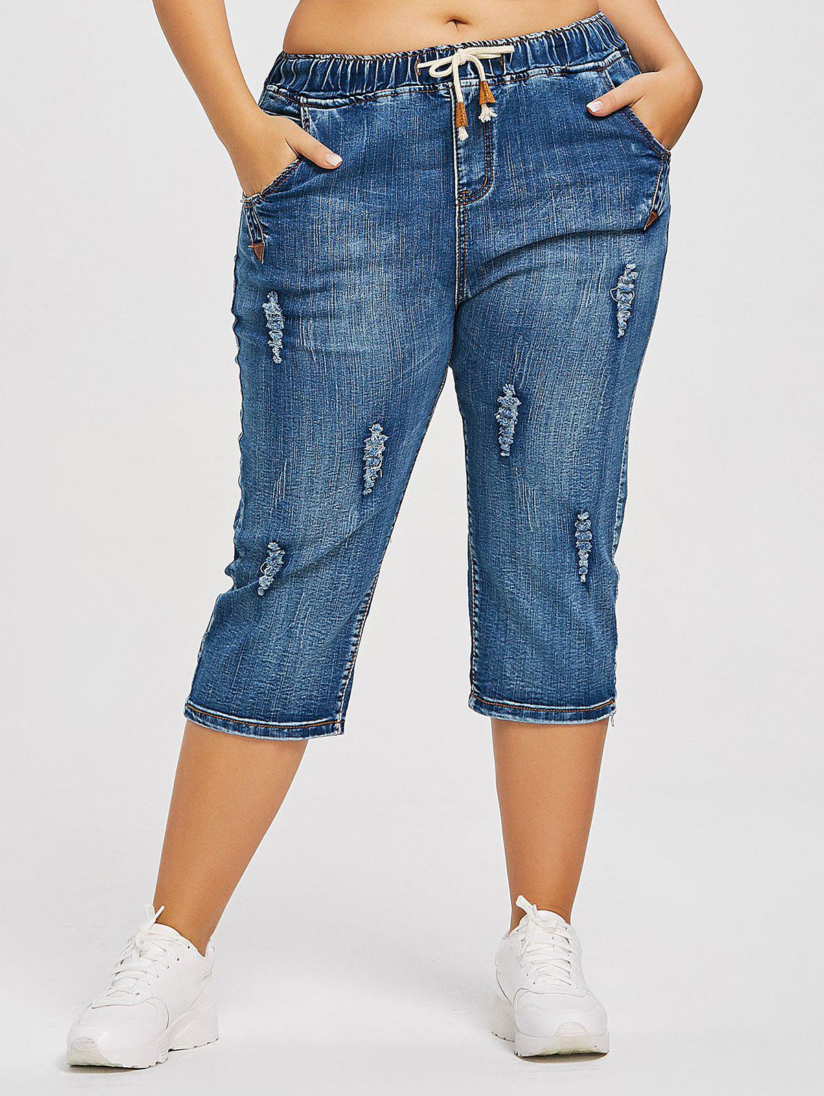 Shop Drawstring Waist Plus Size Ripped Cropped Jeans