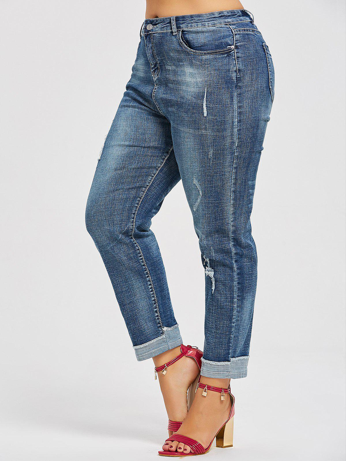 Discount Back Pockets Plus Size Ripped Boyfriend Jeans