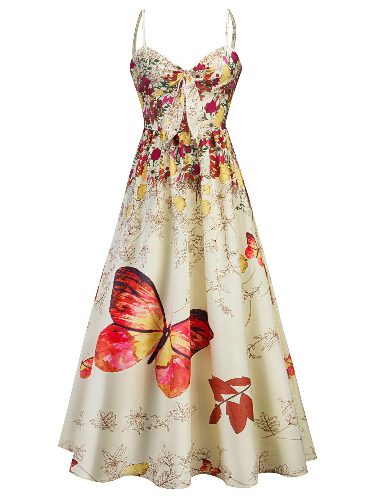 Fashion Cami Bowknot Floral Party Maxi Dress