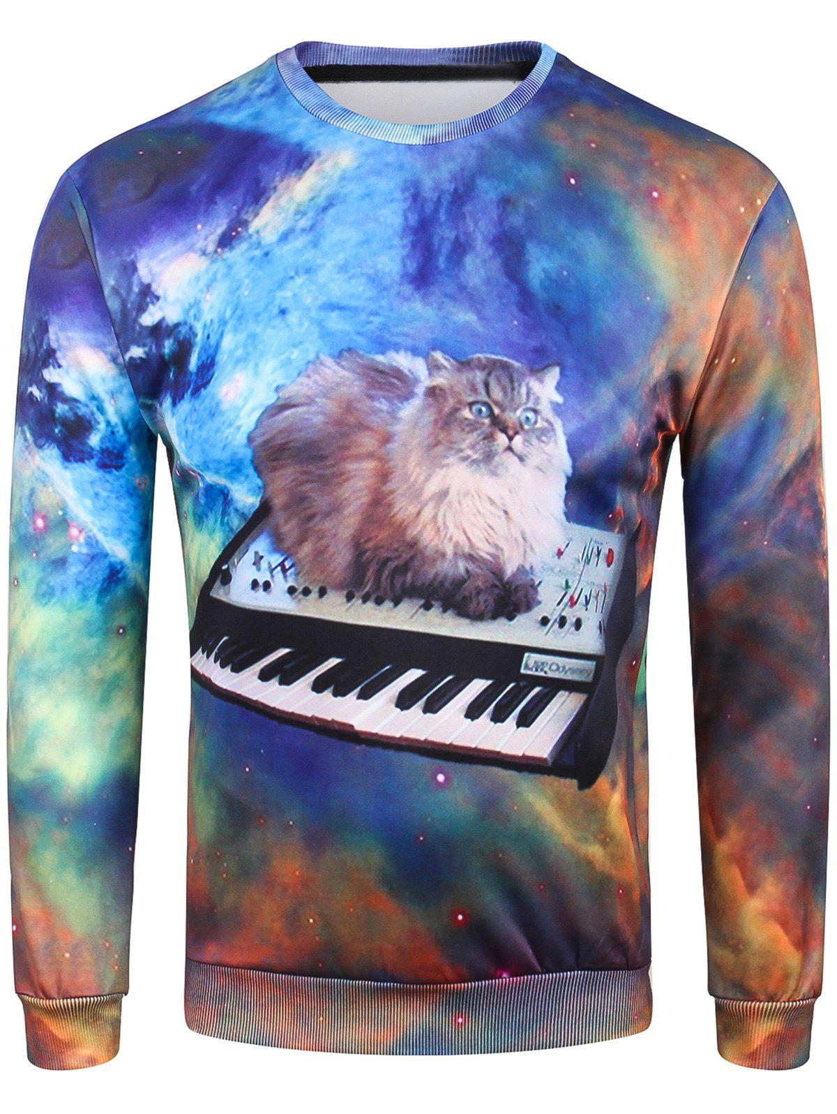 Trendy Crew Neck 3D Kitten Electronic Piano Print Sweatshirt