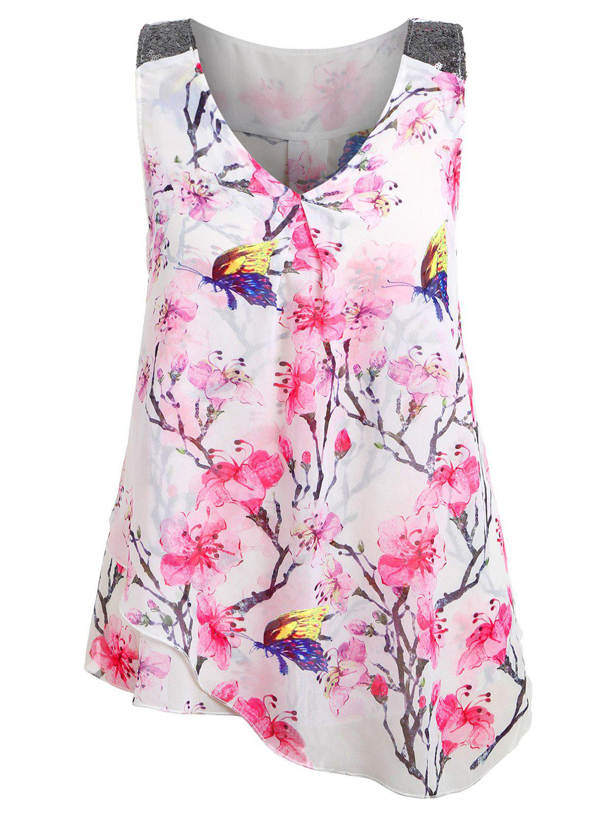 Sale Plus Size Floral Overlay Tank Top