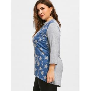 Plus Size American Flag Dip Hem Tunic T-shirt -
